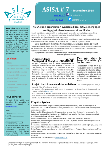 Asisa 7 septembre 2018 publication